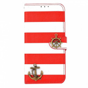 Ukamshop(TM)Stripes Anchor Rudder Wallet Flip Case Cover For iPhone 6 12cm