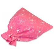 JODA Pink With White Flower Drawstring Bag