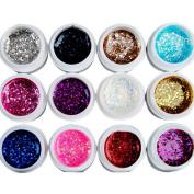 EOZY 12 Mixed Colour Large Glitter UV GEL Nail Art Kit Builder Polish Set Tips Design