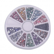 New 2.0mm 12 Colours 3000 Nail Art Glitter Tips Rhinestones Round Gems