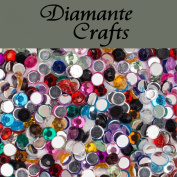 1000 x 3mm Mixed Colours Round Diamante Loose Flat Back Rhinestone Nail Body Vajazzle Gems - created exclusively for Diamante Crafts
