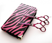 Pink Zebra Hair Scissors and Thinning / Hairdressing Scissor / Barber Scissors with Presentation Case
