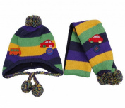 DreamTeck 1set Unisex Toddler Child Cars Balls Colourful Stripes Warm Knitting Wool Earflap Beanie Hat Winter Earmuffs Cap Scarf for Baby Kids 1-5 Years Naby Blue & Yellow & Green