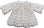 Baby Girls Knitted Matinee Jacket Cardigan White Winter, Size