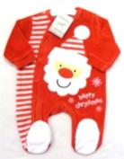 Adorable Red Christmas Design Velour Sleepsuit With Santa & Happy Christmas Applique - Size Newborn