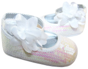 Baby Girl's pre walker soft sole white christening sparkly shoes