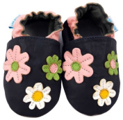 MiniFeet Soft Leather Baby Shoes, Navy Daisies