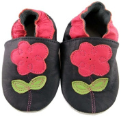 MiniFeet Soft Leather Baby Shoes, Navy Flower