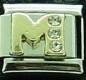Letter M with stones enamel charm - 9mm Italian charm will fit Nomination classic bracelet