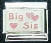 Big sis with pink hearts enamel charm - 9mm Italian charm will fit Nomination classic bracelet