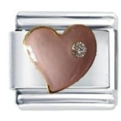 Pink Heart With Crystal Italian Charm Fits Nomination Classic