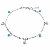 Bling Jewellery Sterling Silver Ankle Bracelet Simulated Turquoise Jewellery Seashell Anklet