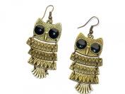 Zehui Retro Owl Vintage Fashion Earrings Bronze