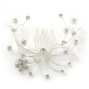 Bridal/ Wedding/ Prom/ Party Rhodium Plated Clear. Crystal Floral Hair Comb - 85mm