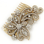 Vintage Inspired Bridal/ Wedding/ Prom/ Party Gold Tone Clear Crystal 'Butterfly' Side Hair Comb - 100mm