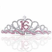Bling Jewellery Silver Pink Rhinestone Princess Sweet 16 Birthday Tiara