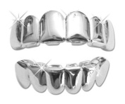 Grillz - Silver Plated - Top & Smaller Bottom Set - High Polish Bling Mouth Teeth