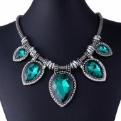 Green Acrylic Cut Tear Drop Bead Chunky Black Chain Fashion Lady Collar Necklace
