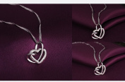 925 Sterling Silver Loving You A Lifetime Interlocking Crafted Heart Necklace 18''(46cm)-Come With Love Message Card