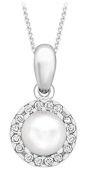 Carissima 9ct White Gold 8mm CZ and Pearl Pendant with Chain