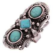 Yazilind Jewellery Vintage Rimous Round Turquoise Ethnic Tibetan Silver Striking Adjustable Ring for Women