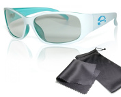 """Passive 3D Movie & TV Glasses - Unisex - white / turquoise - for RealD cinema use and passive 3D TVs such as LG """"Cinema 3D"""" and Philips """"Easy 3D""""- circularly polarised - with pouch"""