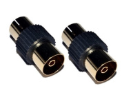 Cable Mountain Gold Plated Female to Female TV Aerial Coaxial Coupler - Black