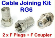 Xxion Pro - Ultra Low Loss Coaxial Cable Repair or Jointing Kit - 2 x F Plugs plus F - F Coupler - Suitable for 6.5mm - 7mm diameter Cables RG6, CT100, WF100, PF100 etc.