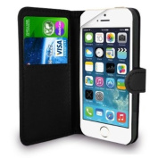 iPhone 5S/5 Black Leather Wallet Flip Case, Screen Protector & Polishing Cloth