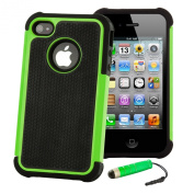 Shock proof case cover for iPhone 4 4S + FREE screen protector, cleaning cloth and touch stylus - Green