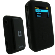 iGadgitz Silicone Skin Case Cover for SanDisk Sansa Clip Plus MP3 Player - Black