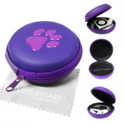 LOVE MY CASE / Two-Tone PURPLE PAW PRINT MP3 Player Case, cover, shell - Clamshell Style with Zip Enclosure For Apple iPod Shuffle 2nd / 3rd / 4th Generation / with Love my Case Cleaning cloth