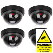 H & S® 4 x Fake Dummy CCTV Security Camera Flashing LED Indoor Outdoor - Dome
