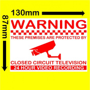 6 x 24hr Montoring CCTV Video Recording Camera Security Warning Stickers-Self Adhesive Vinyl Sign