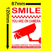 6 x Smile You Are On Camera-Red on White 120mm-Monitoring CCTV Video Recording Camera Security Warning Stickers-Self Adhesive Vinyl Sign