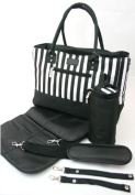 New 5PCS Baby Changing Bags Large Nappy Nappy Tote - Black & White