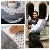 """Mania Breastfeeding scarf """"Grey Star"""" with small pocket for nursing pads in size L/XL"""