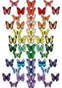 48 X PRE-CUT RAINBOW MIX BUTTERFLY EDIBLE RICE / WAFER PAPER CUP CAKE TOPPERS BIRTHDAY PARTY WEDDING DECORATION