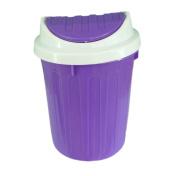 Purple Swing Top Small Plastic Office Desktop Waste Paper Dust Bin Organiser