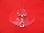 Personalised Silver Plated Letter 'G' Wine Glass Charm by Libby's Market Place