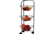 3 TIER ROUND CHROME VEGETABLE/FRUIT TROLLEY RACK,STAND,STORAGE BASKET STAND NEW