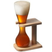 Glass Quarter Yard of Ale with Stand | Kwak Style Beer Glass | bar@drinkstuff Quarter Yard Glass on Birch Wood Stand