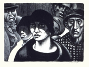 PAINTINGS DRAWING PORTRAIT CROWD BLACK WHITE PEOPLE DWIGHT NEW FINE ART PRINT POSTER PICTURE 30x40 CMS CC3567