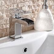 Waterfall Basin Mixer Chrome Square
