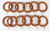 Pack of 12 Teak / Antique Pine Finish Wood Wooden Curtain Rings for 28mm dia Pole