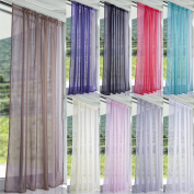 Lucy Woven Voile Slot Top Curtain Panels