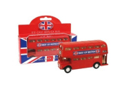 Die Cast Replica London Double Decker Red Bus Model with Pull Back Action