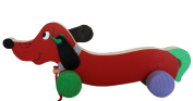 ECO WOODEN TOY [CP-01] KIDS PULL ALONG FLAPPY EARS SAUSAGE DOG