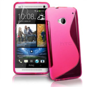 Htc One M8 (Pink) Soft Tpu Jelly Rubber Gel Skin Case Cover Plus Screen Protector & Cleaning Cloth