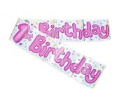 1ST BIRTHDAY BANNER GIRL (BGC HOLOGRAPHIC) 2.7m LONG